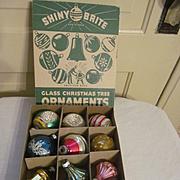Shiny Brite Assorted Mercury Christmas Tree Ornaments Bulbs with Box