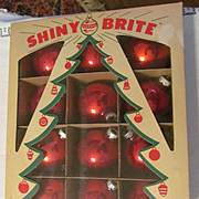 Shiny Brite Red Mercury Christmas Tree Ornaments Bulbs with Box