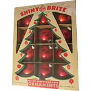 Shiny Brite Red Mercury Christmas Tree Ornaments Bulbs with Box