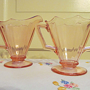 Imperial  Molly Pink Depression Creamer and Sugar