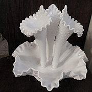 "Fenton Diamond Lace 10"" Milk Glass Epergne"