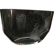 Orrefors Etched Wish to the Moon Vase 2767, Child, Moon  & Stars