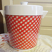 Thermo-Serv Checkered Red White Ice Bucket Cooler