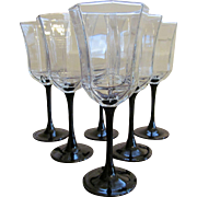 Six France Luminarc Octine Water Goblets, Black Stem