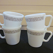 Four Pyrex Corning Woodland Coffee Mugs