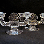 American Fostoria 2 Light Candle Holder Set