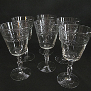 Six Libbey Laurel Weath 8oz Goblets, Star of David Foot