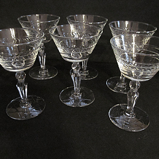 Four Libbey 5oz Laurel Wreath Goblets with Star of David foot
