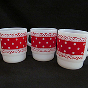 Three Fire King Hocking Polka Dot & Lace Stacking Coffee Mugs, Red and White
