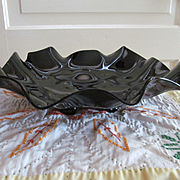 Large Black Glass Ruffled 4 Footed Shallow Bowl