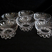 Six Imperial Candlewick Dessert Fruit Bowls