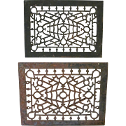 Two Matching Cast Iron Decorative Floor Registers