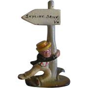 Cast Iron Figural Souvenir Bar Ware Bottle Opener, Drunk Man Hanging on Street Post, Skyline Drive Virginia