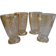 Four Floragold Louisa Iridescent 10oz Tumblers by Jeannette Glass Company + Another 4pc Set Available