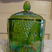 Indiana Green Carnival Harvest Canister Jar, Vintage Grape & Leaf