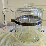 Pyrex Stove Top Blue Flame 9 Cup Coffee Pot..EX