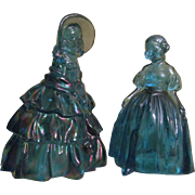 Two Blue Carnival Wheaton Glass Ladies, Victorian Style and Peasant Figures