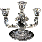 Fostoria Arcady Etch 3 Light Candle Holder