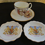 1950's  Queen Elizabeth II and Prince Phillip Souvenir Cup and Saucer, 2 Trays...England