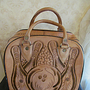 Leather Hand Tooled Bowling Ball Bag, Ball & Pins, Mexico
