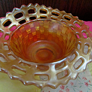 Early Fenton Marigold Carnival Glass Open Edge Basketweave Nut Dish