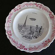 Creil Et Montereau France Series Plate, Number 12 Les Sports Aerostation, Dirigible Blimp