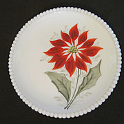 Westmoreland Beaded Edge Poinsettia Plate