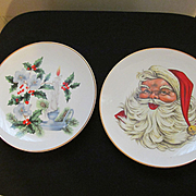 Pair of Western Stoneware Christmas Plates