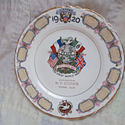 1920  Commemorating World War 1 Calendar Plate, Varna Illinois