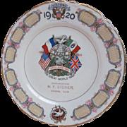 1920  Commemorating World War 1 Calendar Plate, Varna Illinois
