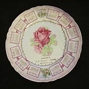 1909 Abingdon Illinois Calendar Plate, C E Downs Grocer