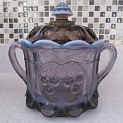 Westmoreland Lilac Opalescent Cherry Pattern Cookie Cracker Jar, Label