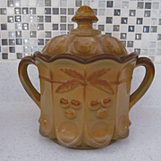 Westmoreland Chocolate Cherry Pattern Cookie Cracker Jar