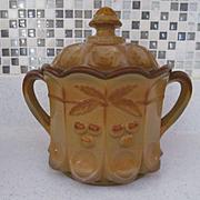 Westmoreland Chocolate Cherry Pattern Cookie Cracker Jar