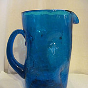 "Blenko Blue 10"" Dimple Crackle Pitcher with Label"