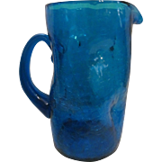 """Blenko Blue 10"""" Dimple Crackle Pitcher with Label"""