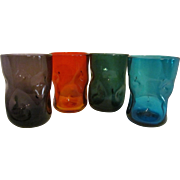Four Blenko Pinched Dimpled Tumblers