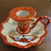 Oriental Hand Painted Japan Japanese Handled Candlestick, Orange/Gold Mark