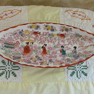 Oriental Hand Painted Geisha Girl Handled Bowl Tray, Japanese