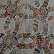 Wedding Ring Hand Sewn Flour Sack Quilt Top, Scalloped Edge