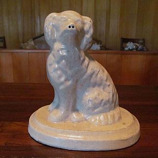 Galesburg Pottery White Spaniel Dog Doorstop, Stoneware