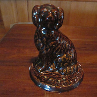 Brown Galesburg Pottery Spaniel Dog Stoneware Doorstop