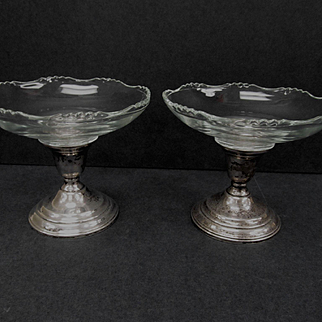 2 Cambridge Compotes with International Sterling Bases