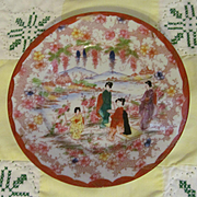 Oreintal Japanese Hand Painted Plate Ladies and Children Scene. Red Mark with Nippon Symbol
