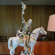 "Royal Dux 25"" Hunter on Horse with Falcon Figurine Statue"
