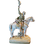 """Royal Dux 25"""" Hunter on Horse with Falcon Figurine Statue"""