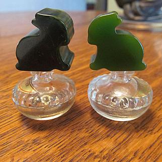 Bakelite Rabbit Mini Perfume Bottles, Blue Moon Green Swirl and Green by Bouton Co