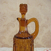 Bellaire Amber Stars and Bars Cruet, Early American Pattern Glass