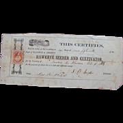1865 Hawkeye Seeder & Cultivator Share Certificate