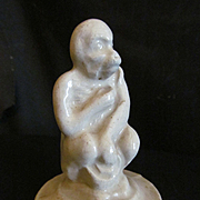 Illinois Stoneware Pottery Sitting Monkey, End of Day